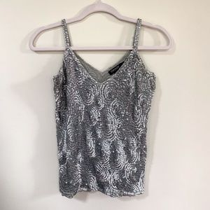 DKNY Silver Sequined V-Neck Sleeveless Top - S
